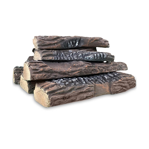Gibson Living 10 Piece Set of Ceramic Wood Large Gas Fireplace Logs Logs for All Types of Indoor, Gas Inserts, Ventless & Vent F