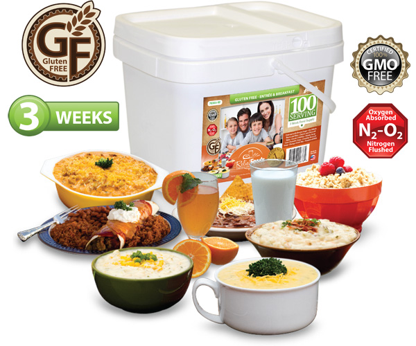 3 Week - Gluten Free - 100 Serving Entrée & Breakfast Bucket