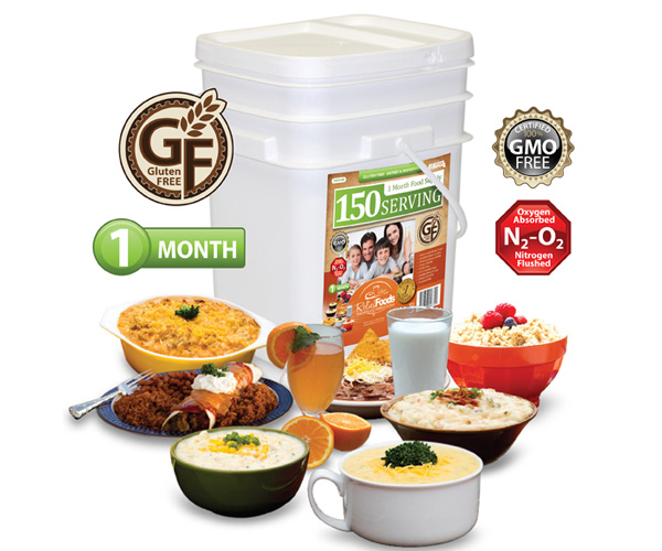 1 Month - Gluten Free - 150 Serving Entrée & Breakfast Bucket