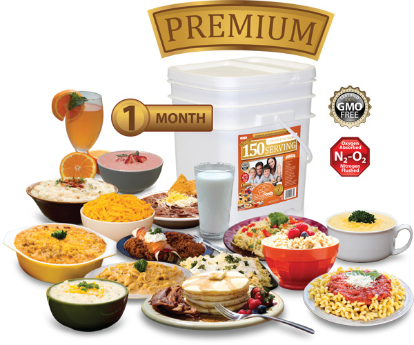 1 Month - Premium - 150 Serving Entrée & Breakfast Bucket