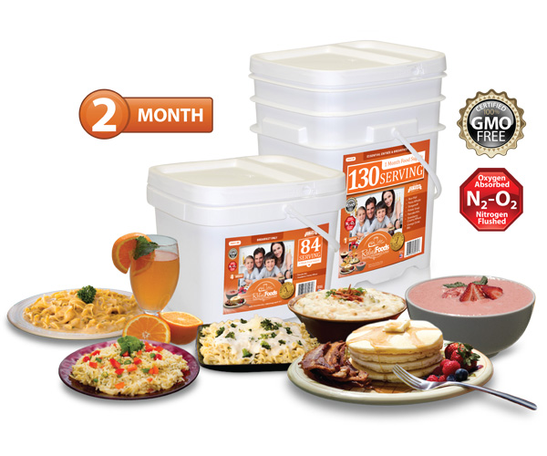 2 Month - Essential - 214 Serving Entrée Bucket and Breakfast Bucket Combo