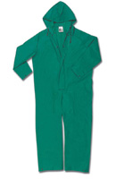 River City Rainwear 2X Green .42 mm PVC And Polyester Flame Retardant Chemcial Protection Coveralls With Welded Seams, Double St