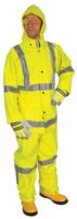 River City Rainwear Medium Fluorescent Lime Luminator+ .38 mm PVC And Polyester Rain Suit With Welded Seams, Storm Flap Over Sna