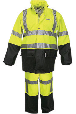 River City Garments� Large Fluorescent Lime And Black Luminator� .4000 mm Polyester And Polyurethane Flame Resistant 2 Piece Rai