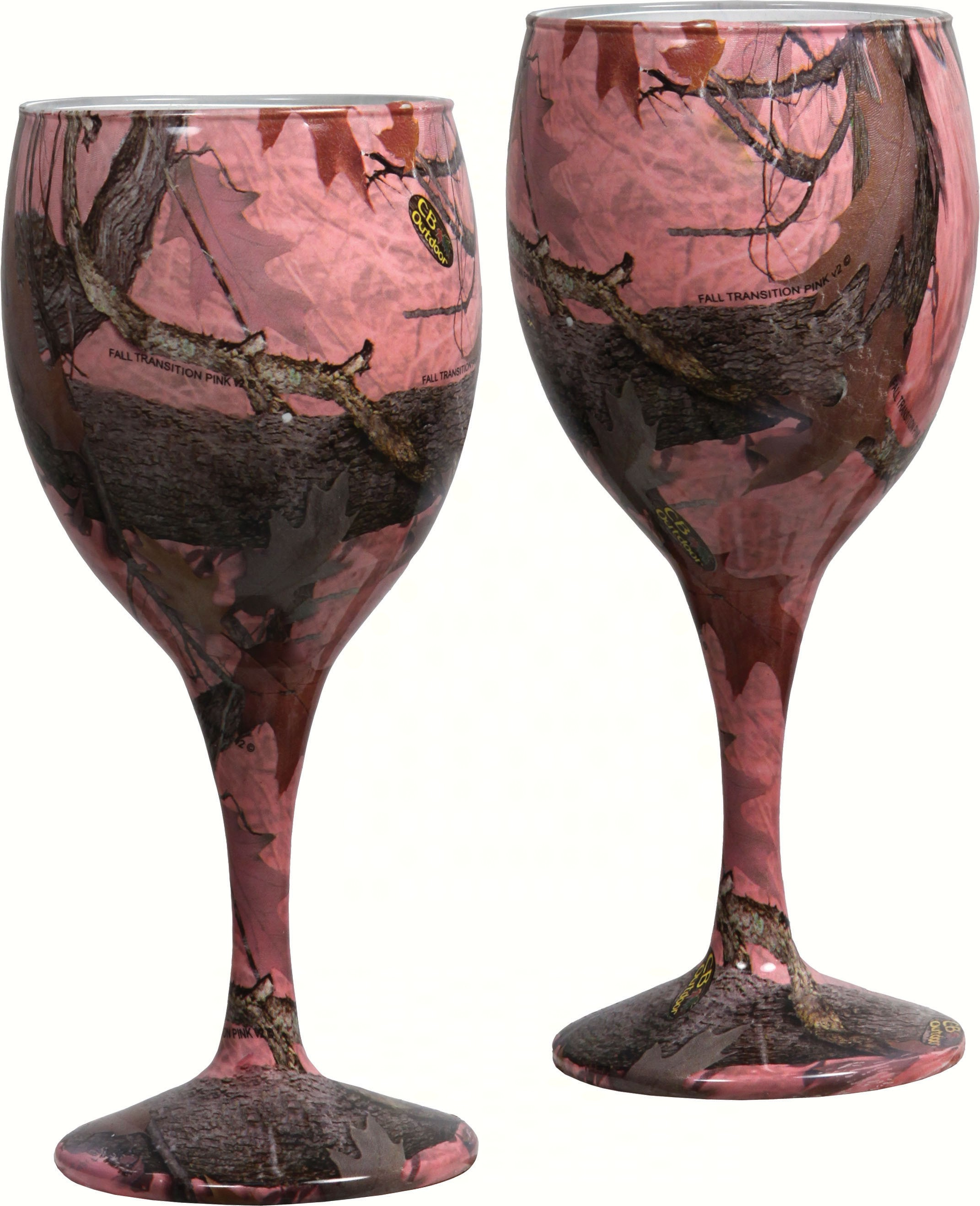Pink Camo Wine Glasses 2 pack