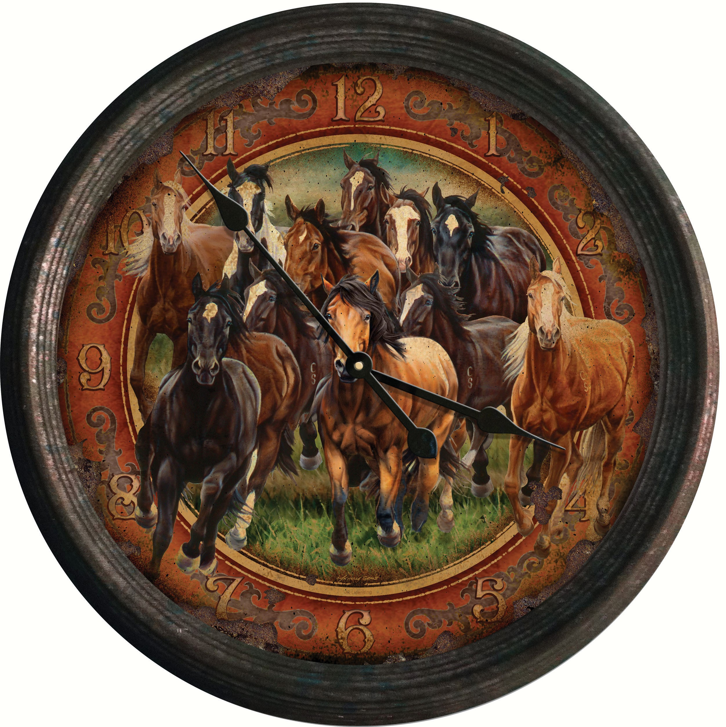 "15"" Running Horses Vintage Style Tin Wall Clock"
