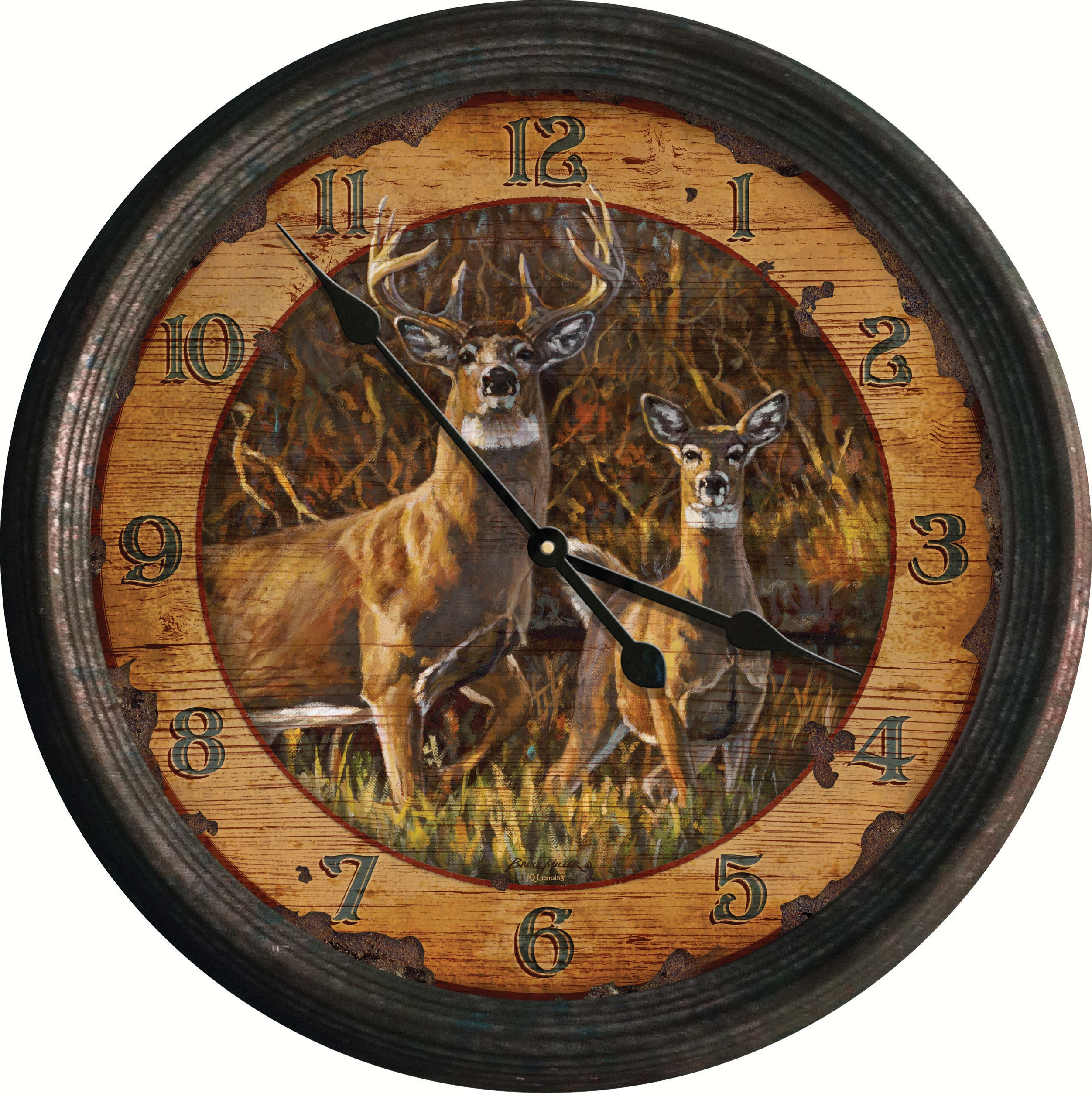 "15"" Buck & Doe Vintage Tin Wall Clock"
