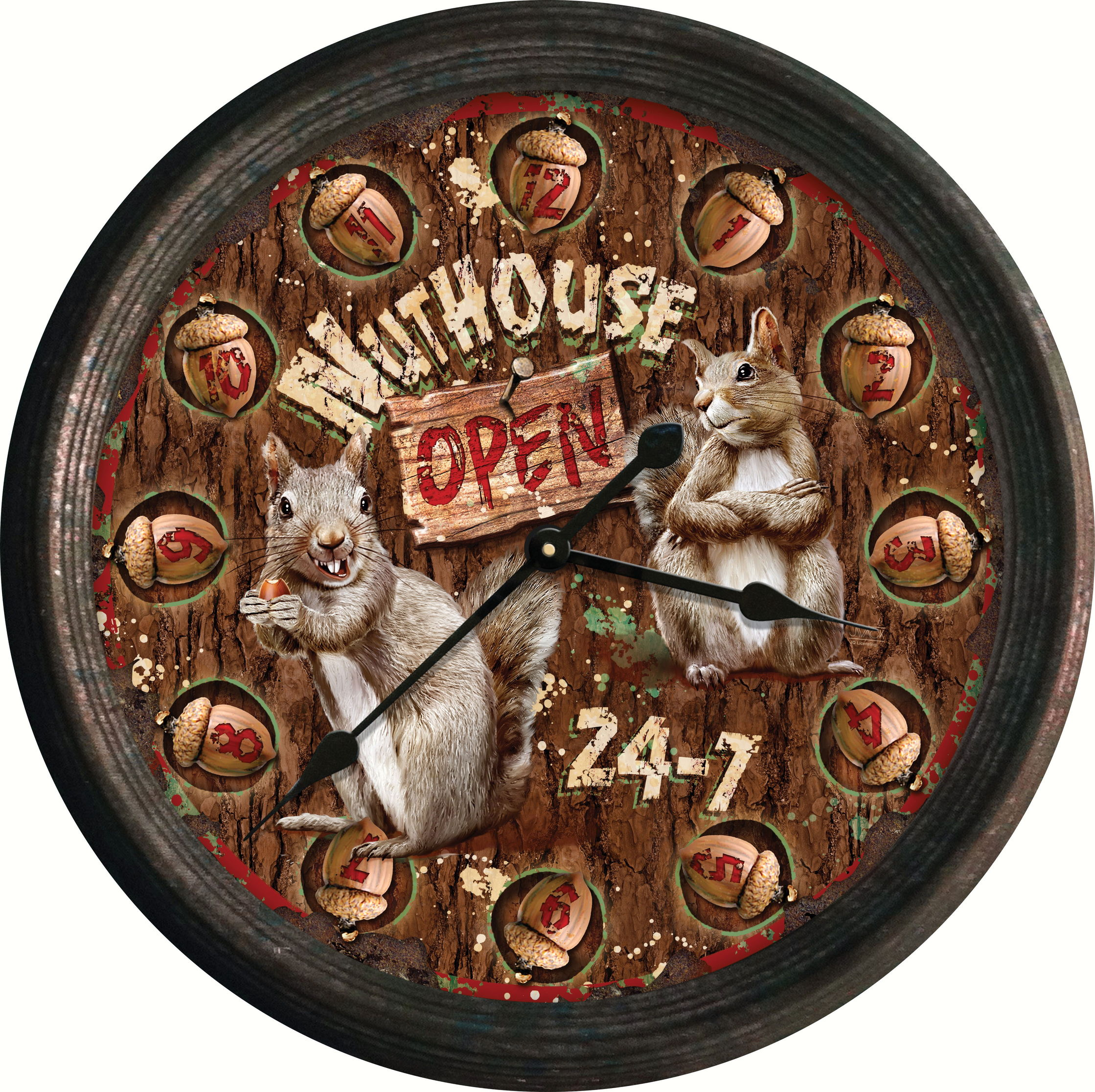 """15"""" Rusted Nut House Glass Covered Wall Clock"""