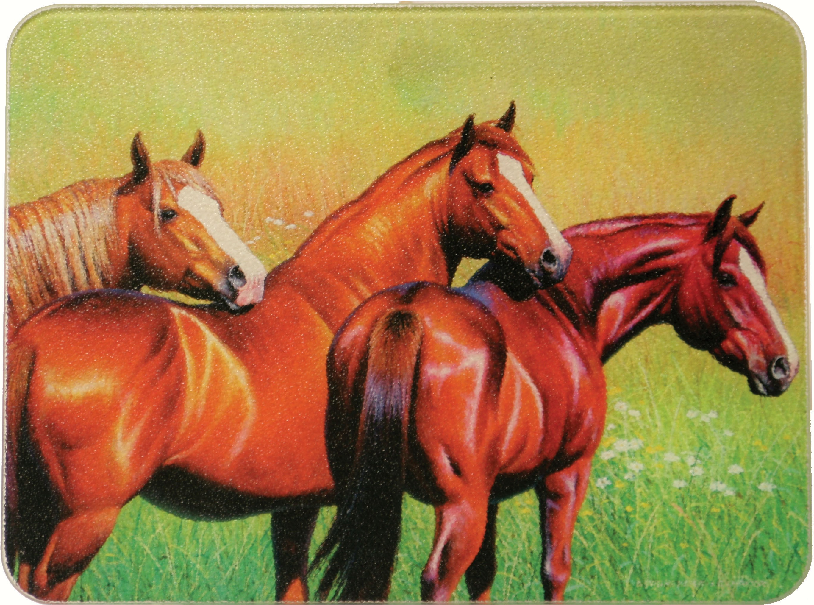 Three Horses Tempered Glass Cutting Board