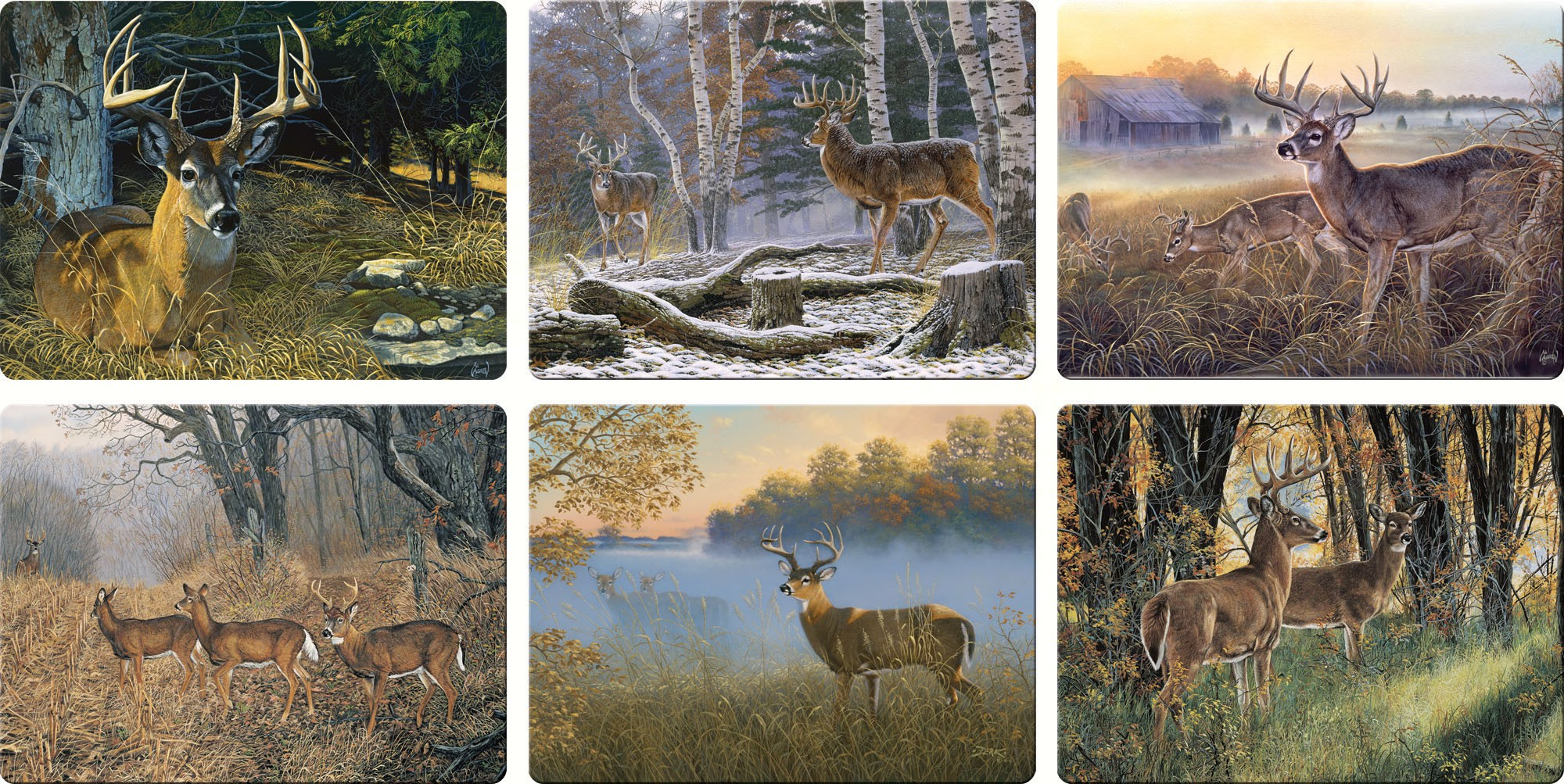 Deer Scenes Glass Cutting Board Assortment (12 Pieces)