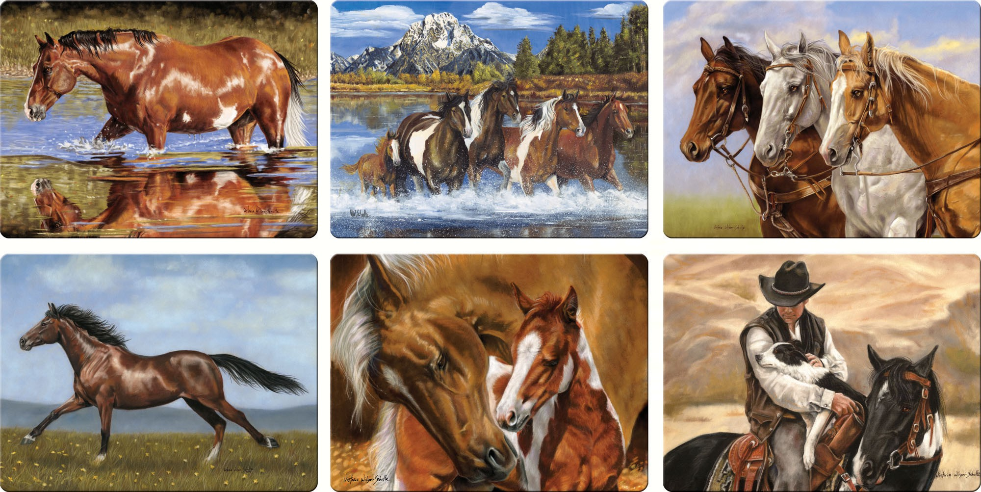 Horse Scenes Glass Cutting Board Assortment (12 Pieces)
