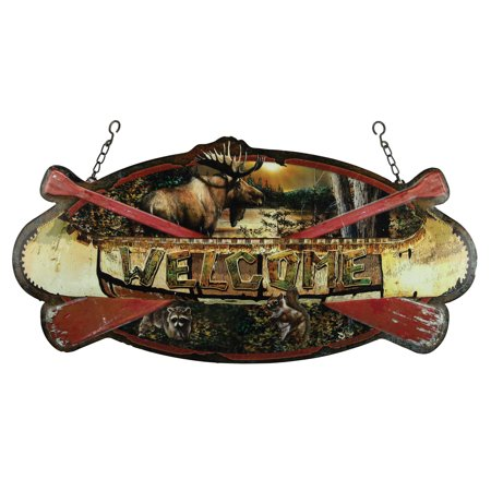 Rivers Edge Welcome Canoe Hanging Metal Sign 1971
