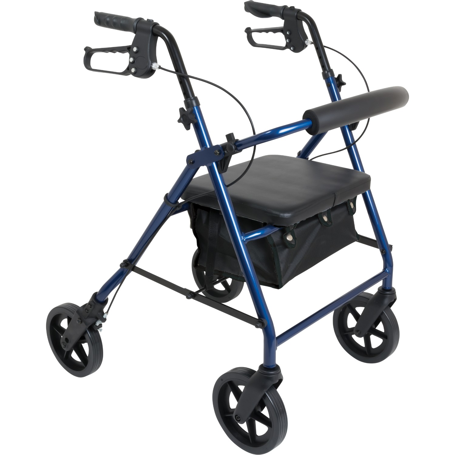 Deluxe Rollator with Padded Seat, 8-inch Wheels Blue