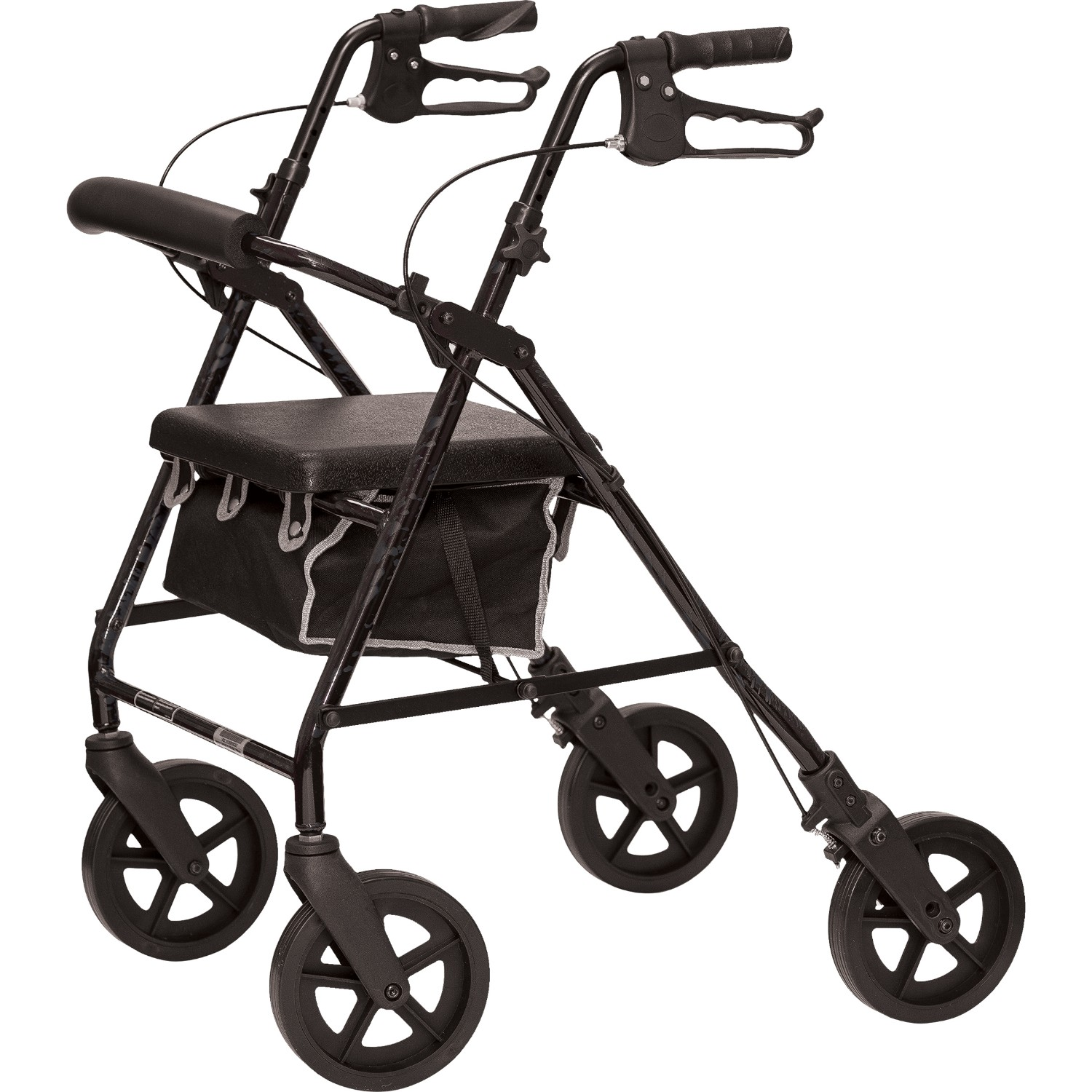 Deluxe Rollator with Padded Seat, 8-inch Wheels Granite Gray