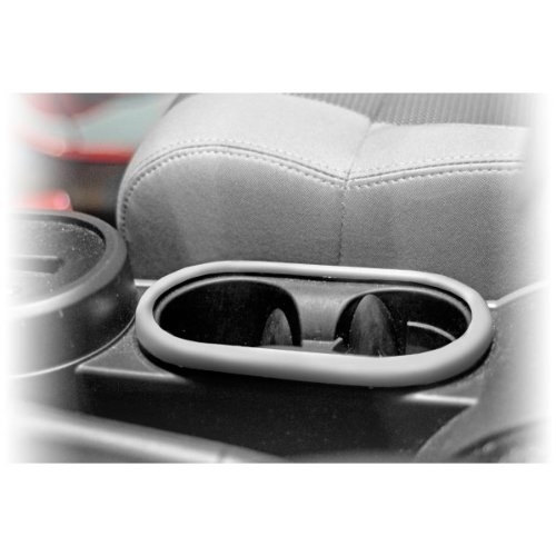 Front Cup Holder Trim, Brushed Silver; 07-10 Jeep Wrangler JK
