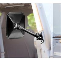 Quick Release Mirrors, Pair, Black, Rectangular; 97-16 Jeep Wrangler