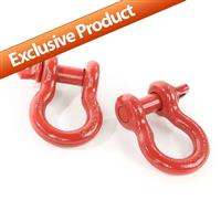 D-Ring Shackles, 3/4-Inch, Red, Steel, Pair