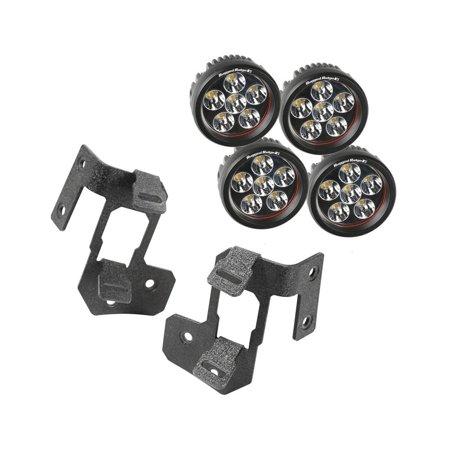 A-Pillar Light Mount Kit, Textured Black, Round LED; 07-16 Wrangler
