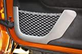 Door Net Trim, Front Row, Brushed Silver; 11-16 Jeep Wrangler JK