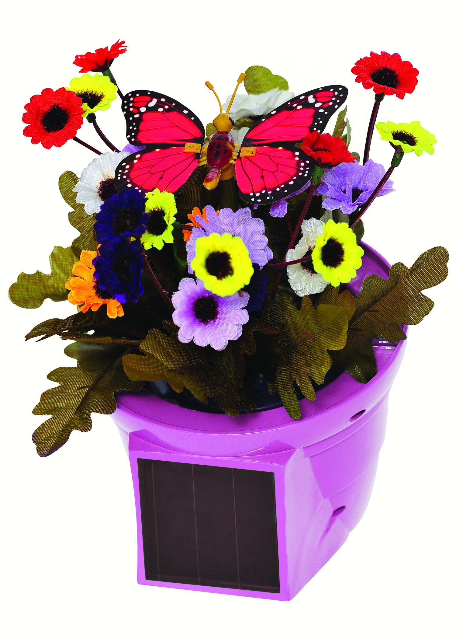 Solar Pals Flapping Patio Pot with Pink Pot and Red Butterfly