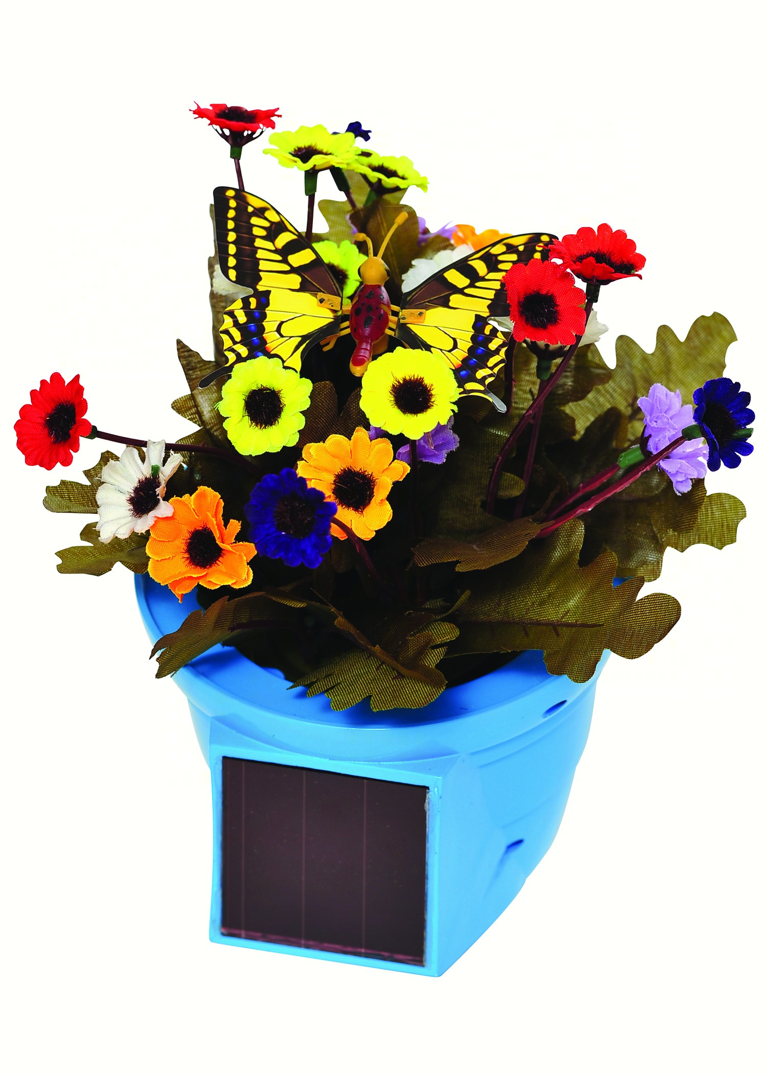 Solar Pals Flapping Patio Pot with Blue Pot and Yellow Butterfly