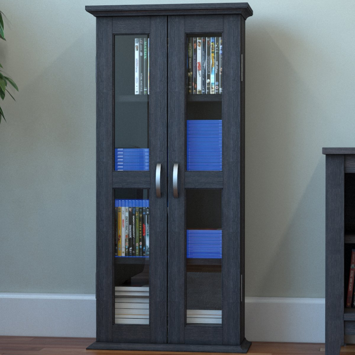 Ryan Rove Kirkwell Wood DVD Storage Shelves Tower Media Cabinet Organizer, Home Decor, Bedroom and Living Room Furniture Wooden