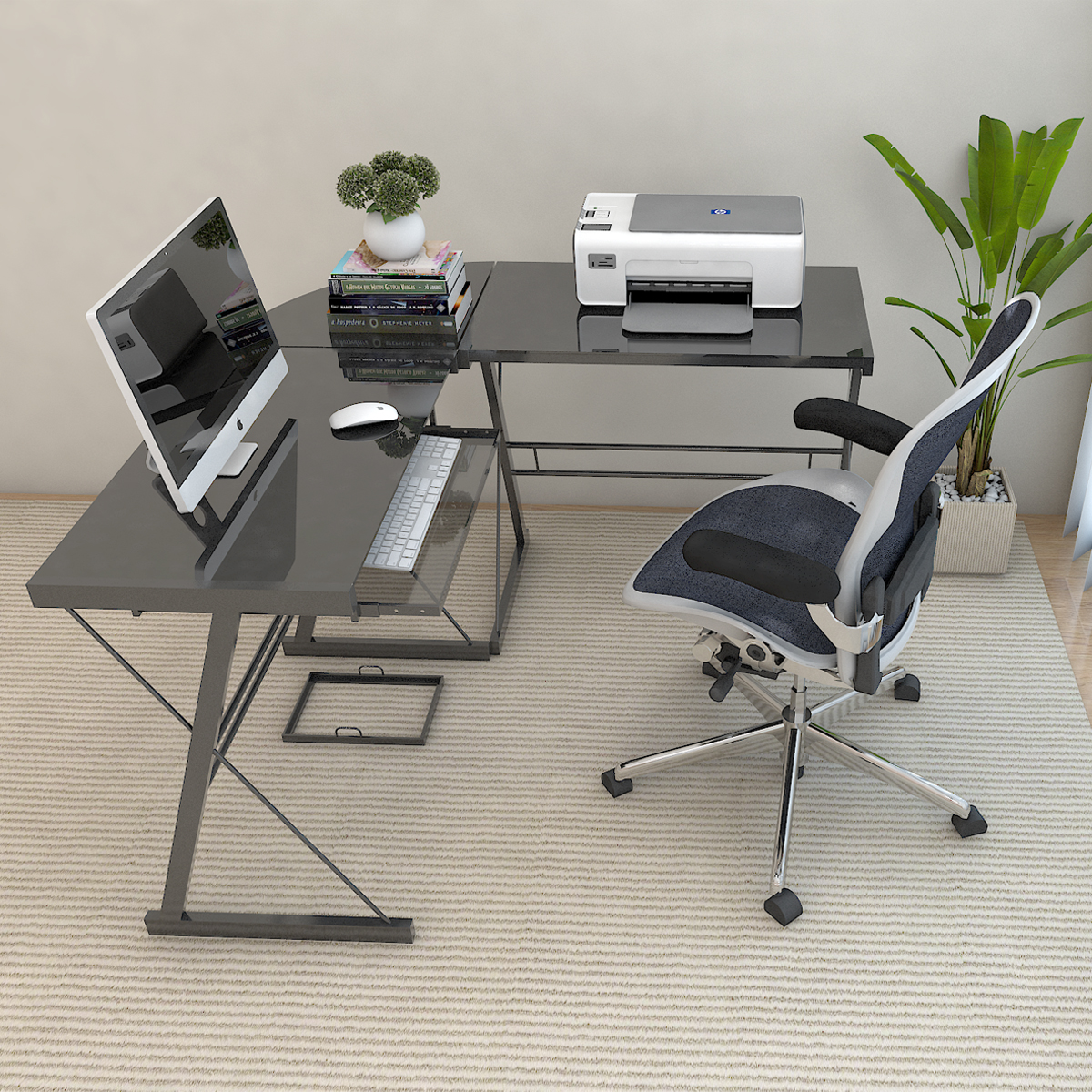 Ryan Rove Kristen Corner L Shaped Computer Desk - Home and Office Organizer with Open Shelves and Cable Management Grommet - Lap