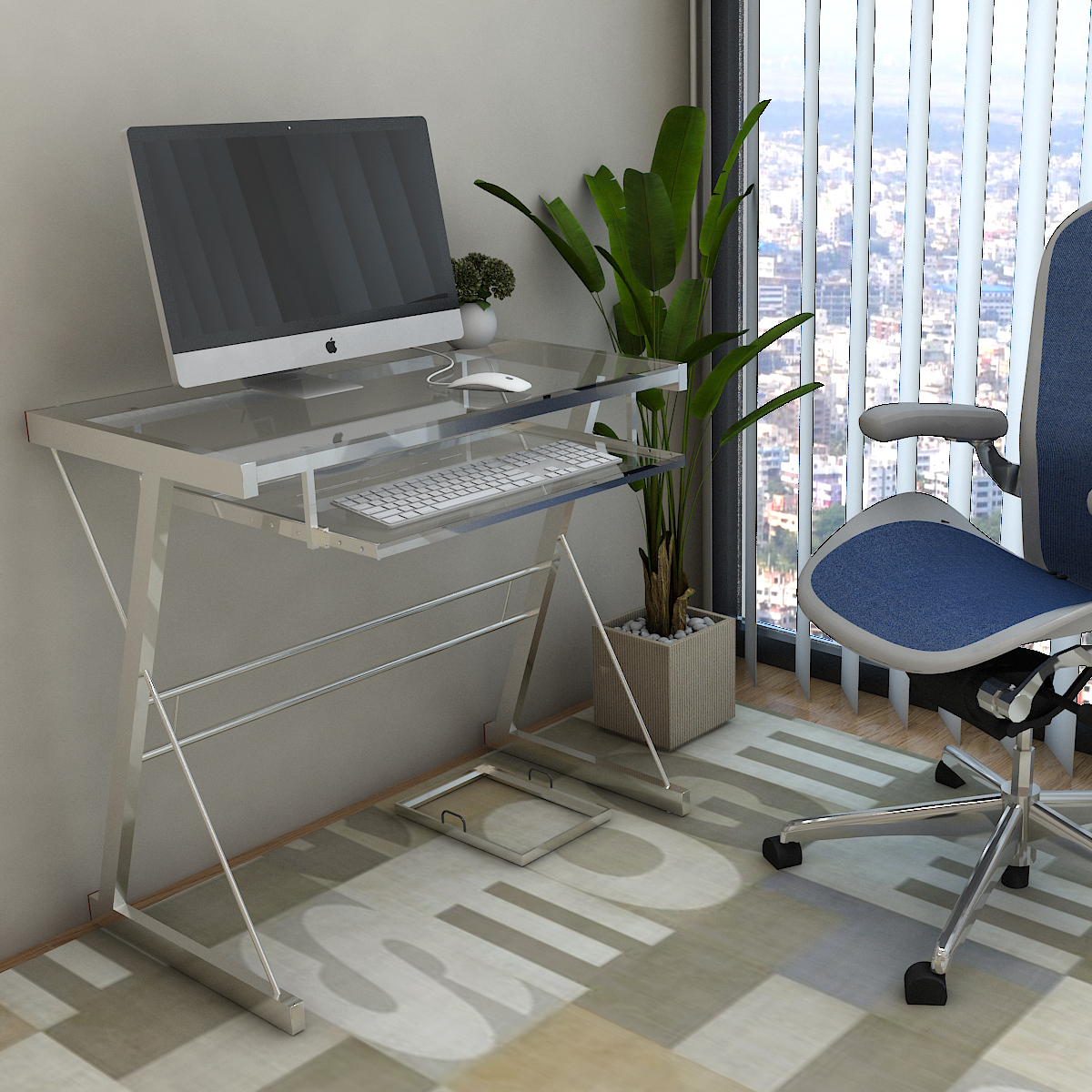Ryan Rove Becker Metal and Glass Computer Desk - Home and Office Desks with Keyboard Tray - Writing and Laptop Console Table for