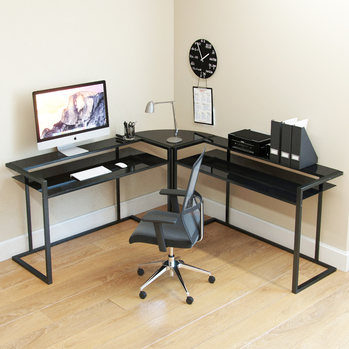 Ryan Rove Belmac 3 Piece L Shaped Computer Desk - Home and Office Corner Organizer with Side Table and Keyboard Tray - Laptop, M