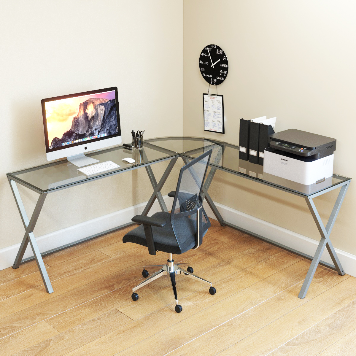 Ryan Rove Keeling 3 Piece L Shaped Computer Desk - Home and Office Corner Organizer with Side Table and Keyboard Tray - Laptop,