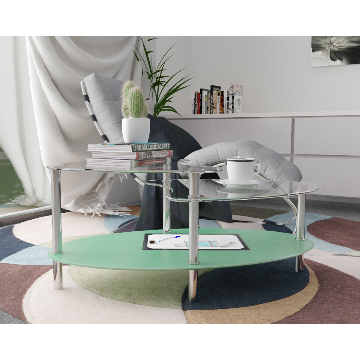 Ryan Rove Cleveland Oval Glass Coffee Table - Modern Home Decor with Black Mesh Magazine Storage Rack - Furniture for Living Roo