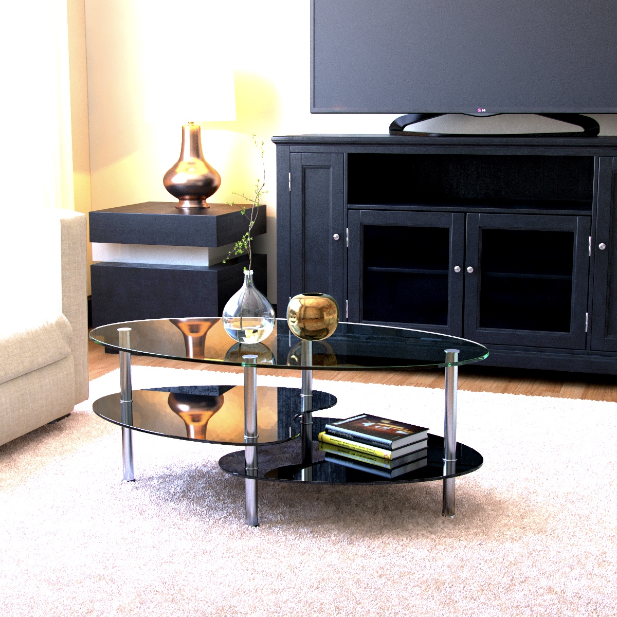 Ryan Rove Becca - Oval Two Tier Glass Coffee Table - Tables for Living Room, Kitchen, Bedroom and Office - Glass Shelves Under D