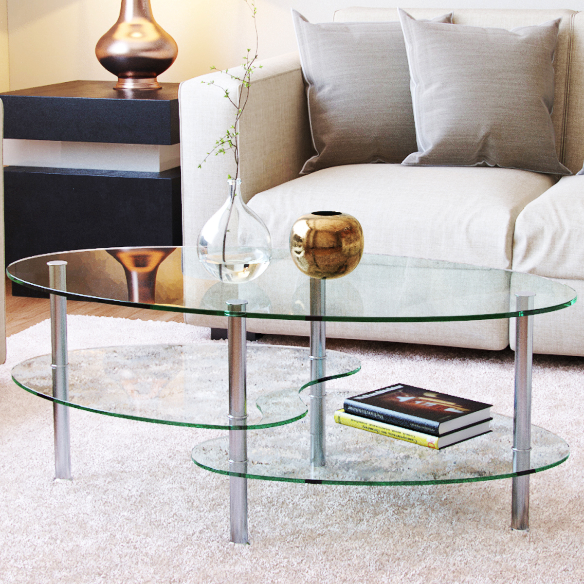 Ryan Rove Elm - Oval Two Tier Glass Coffee Table - Coffee Tables for Living Room, Kitchen, Bedroom and Office-Glass Shelves Unde
