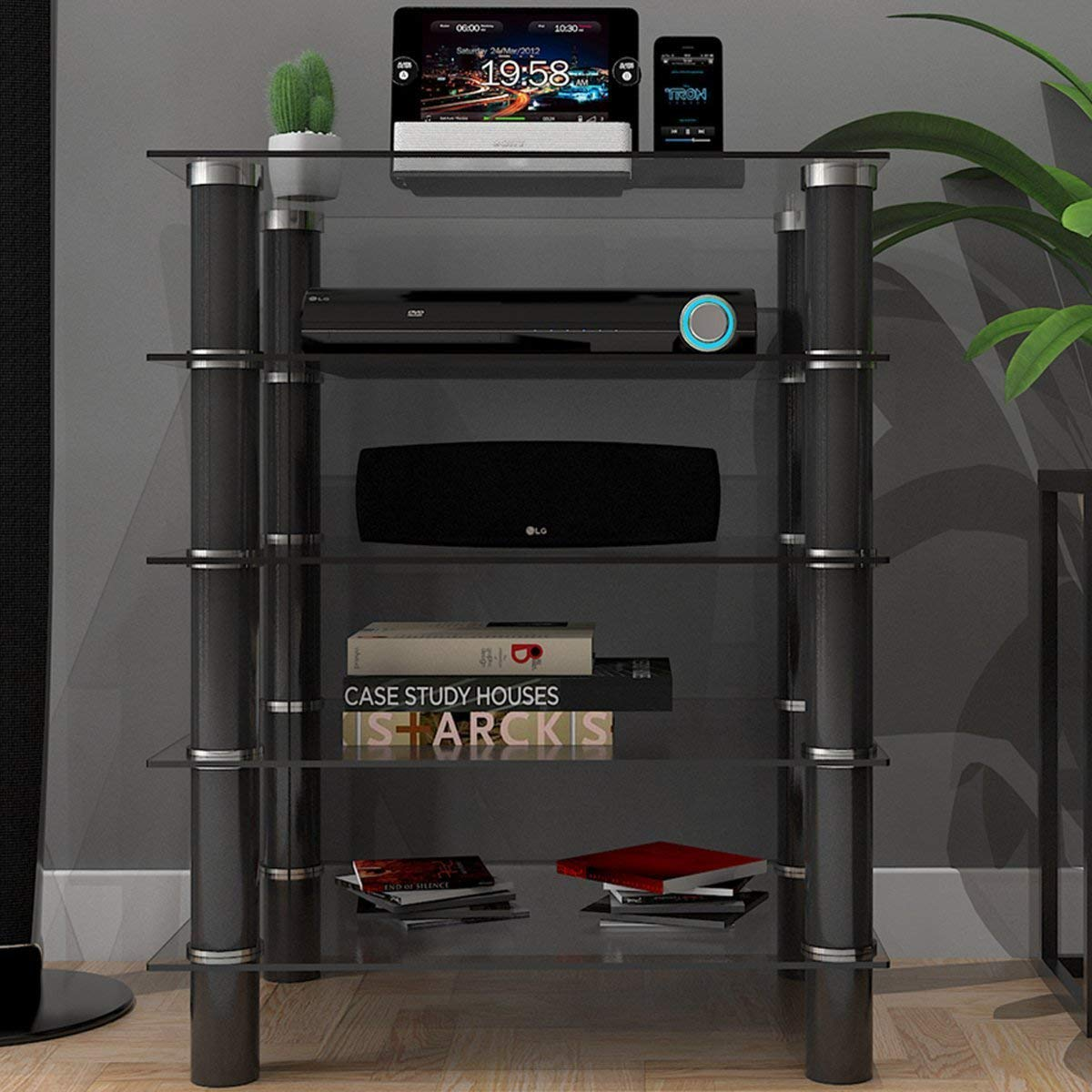 Ryan Rove Hamlin Clear Glass Component Stand - Entertainment Center, Home Theater System, Media Storage, Stereo and Audio Consol