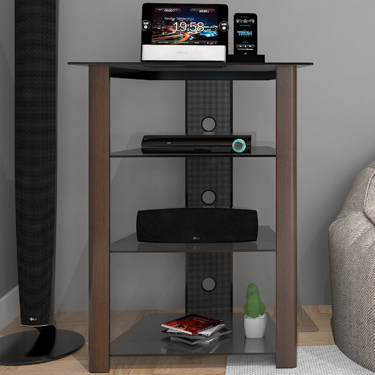 Ryan Rove Ashton Multi-Level Media Component Stand - Living Room Furniture, Home Theater System, Entertainment Center, Console S