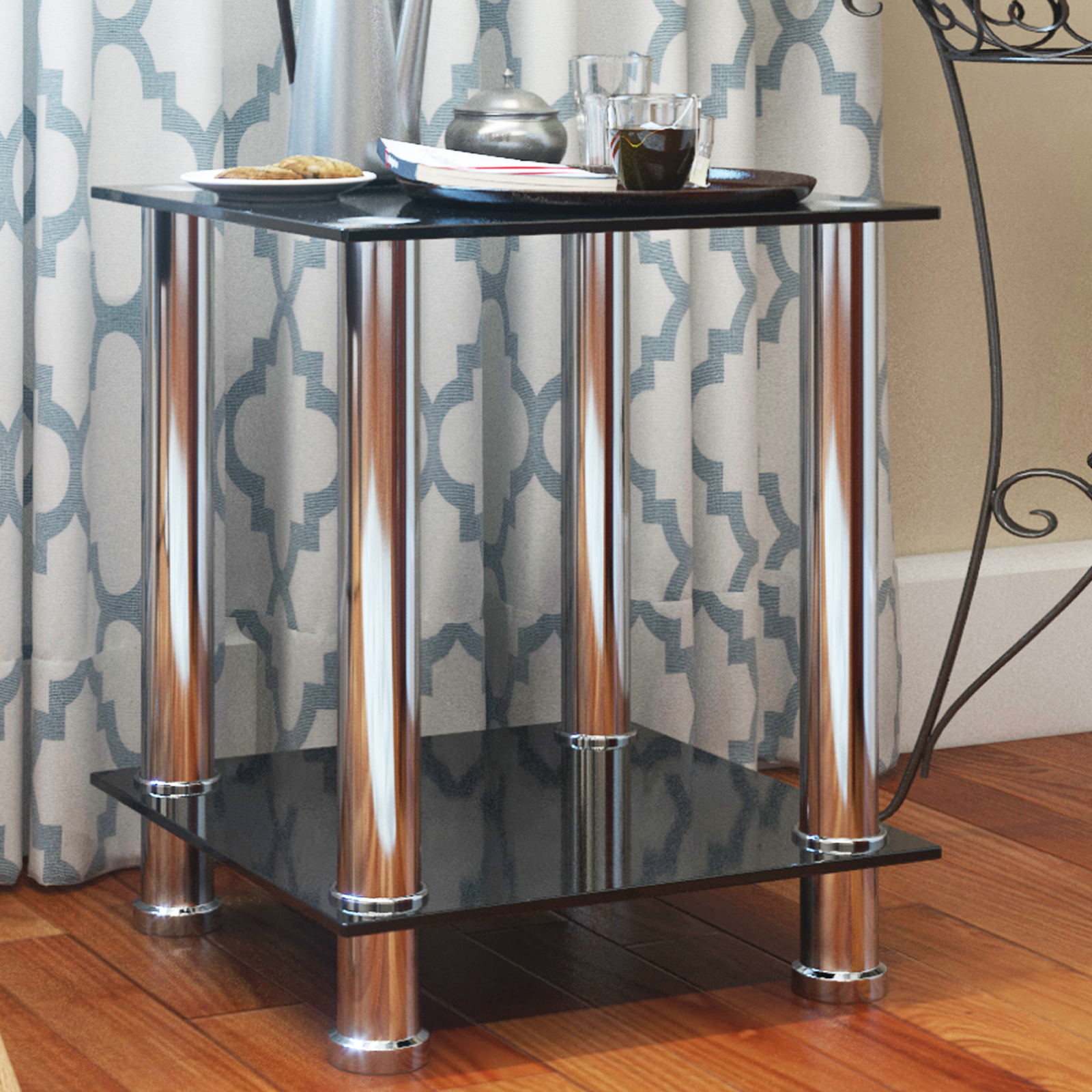 Ryan Rove Vivien Glass Small Accent End Side Table Living Room Coffee Sofa Table Nightstand Chrome Finish