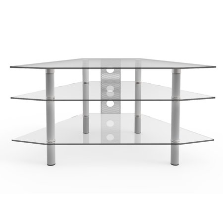 Ryan Rove Ruby Corner TV Stand with Cable Management - Wall Decor and Entertainment Center - 3-Tier Silver and Clear Glass Shelf