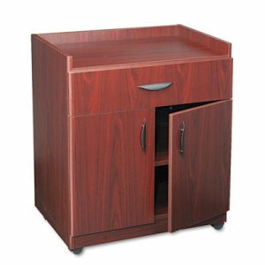 Mobile Laminate Machine Stand w/Pullout Drawer, 30 x 20-1/2 x 36-1/4, Mahogany