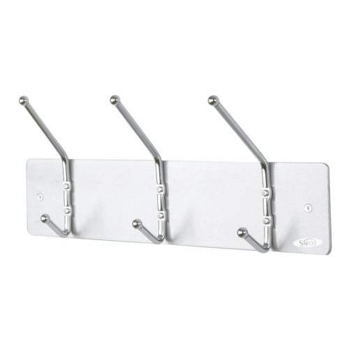 Safco Products Safco Wall Rack Three Ball-Tipped Double-Hooks Metal Satin Aluminum per EA