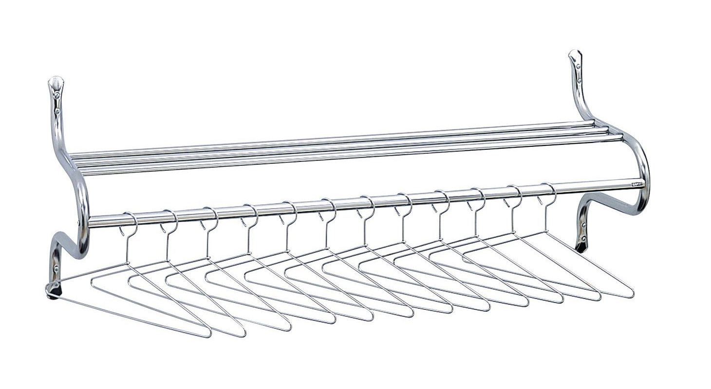Chrome-Plated Shelf Rack, 12 Non-Removable Hangers, 49w x 14d x 19h, Metal