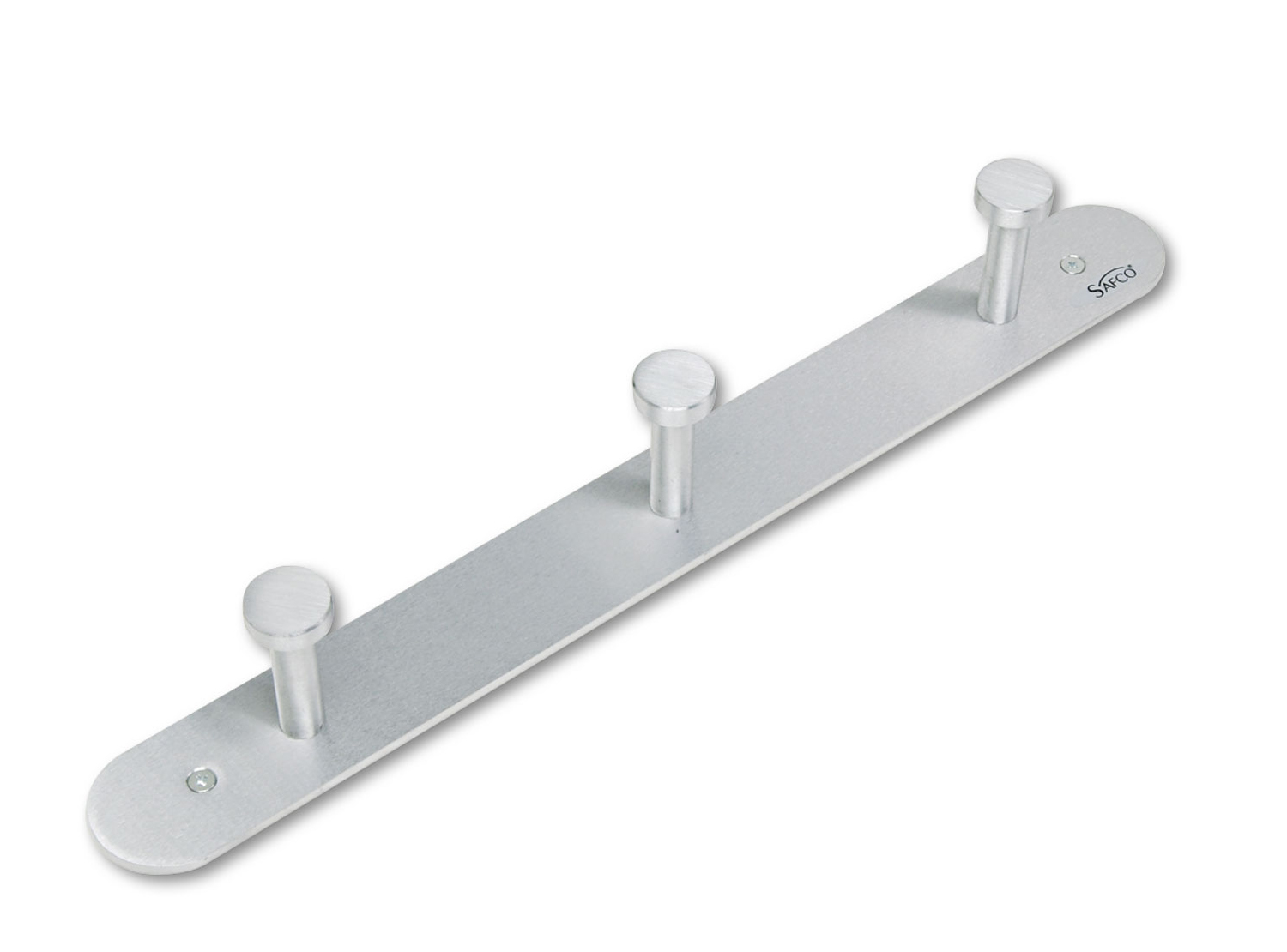 Nail Head Wall Coat Rack, Three Hooks, Metal, 18w x 2-3/4d x 2h, Satin Aluminum