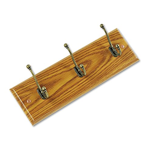 Wood Wall Rack, Three Double-Hooks, 18w x 3-1/4d x 6-3/4h, Medium Oak