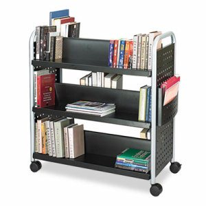 Scoot Book Cart, Six-Shelf, 41-1/4w x 17-3/4d x 41-1/4h, Black