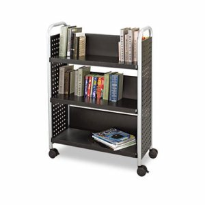 Scoot Book Cart, Three-Shelf, 33w x 14-1/4d x 44-1/4h, Black