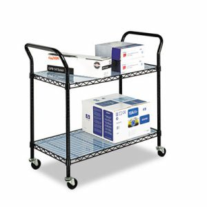 Wire Utility Cart, Two-Shelf, 43-3/4w x 19-1/4d x 40-1/2h, Black