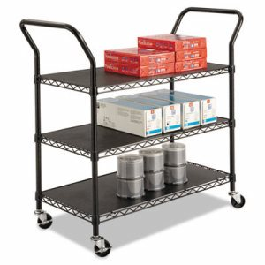 Wire Utility Cart, Three-Shelf, 43-3/4w x 19-1/4d x 40-1/2h, Black