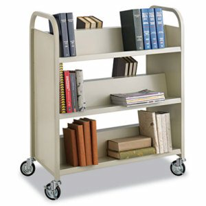Steel Book Cart, Six-Shelf, 36w x 18-1/2d x 43-1/2h, Sand
