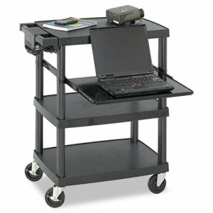 Multimedia Projector Cart, Four-Shelf, 27-3/4w x 18-3/4 x 34-3/4, Black