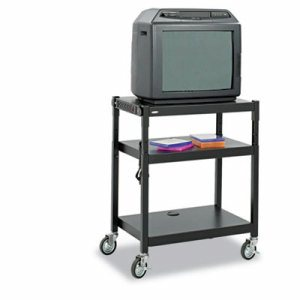 Adjustable-Height Steel AV Cart, 27-1/4w x 18-1/4d x 28-1/2 to 36-1/2h, Black