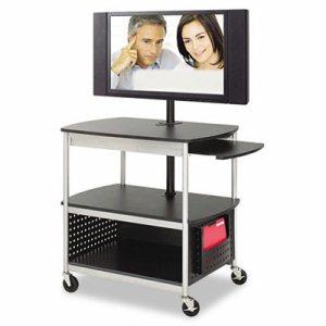 Scoot Flat Panel Multimedia Cart, Three-Shelf, 39-1/2w x 27d x 68h, Black